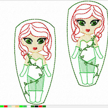 DIGITAL FILE Poisonous plant loving ivy dress femme fatale felt clippies 4x4 5x7 ITH Machine Embroidery Design download clips felties