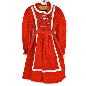 Vintage Girls Red Dress Polly Flinders Red Dress Toddler Girls Dress