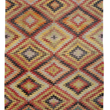 Decorative Diamond Rug -  Kilim Rug - Antique Turkish Rug - Oriental Kilim Rugs - Bohemian Rug with Pastel Colors - A111404013