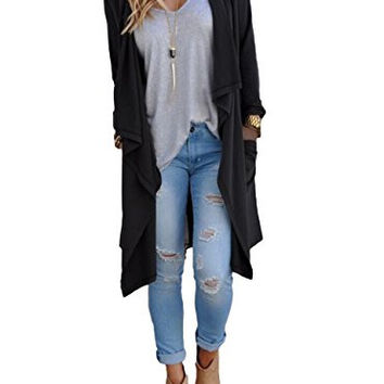 Tankoo Women's Solid Lightweight Knitted Open Front Long Trench Coat Cardigan