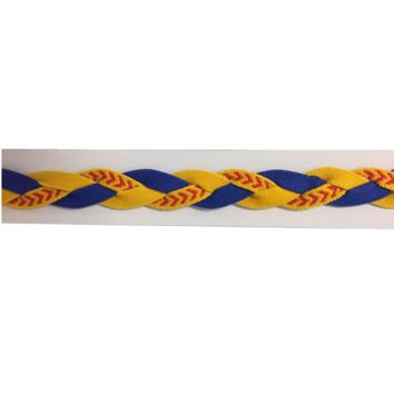 Softball Stitch Headband- Blue & Yellow