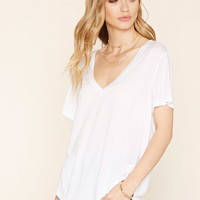Contemporary Slub Knit V-Neck Tee