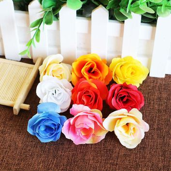 50Pcs/lot Rose DIY Silk Artificial Flowers Decorative Flowers Wreaths Wedding Decoration Dried Flowers Boutonniere 4.5CM H004