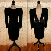 Vintage 80s Cocktail Dress Evening Dress Black Velvet Dress Long Sleeve Low Open Back Big Bow Big Shoulder Pads Size 8 Medium Women Clothing