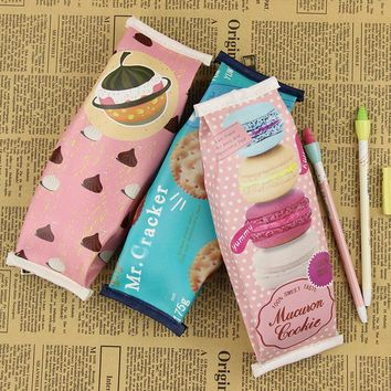 1 PC Macaron Cracker Creative Pencil Case Cookies Pencil Bag Give Children The Stationery Gift Chocolate Pencil Bag