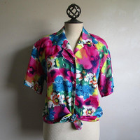 80s Summer Rayon Floral Shirt Vintage Bright Pink Blue 1980s Flower Print Short Sleeve Blouse 6US