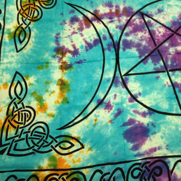 Triple Moon Pentacle Tie Dye Tapestry Wall Hanging Bedspread