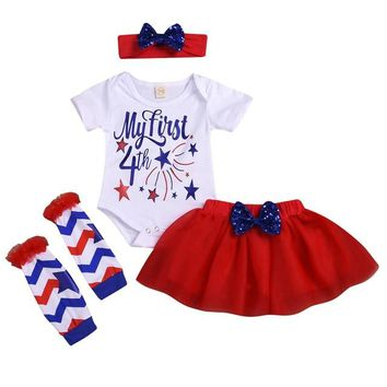 My First 4th of July 4PC Outfit Red White Blue