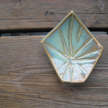 Turquoise Diamond Dish - Tiny Ceramic Plate - Ceramics and Pottery - Ring Dish - Turquoise Decor - Earring Tray - Teabag Rest - Modern Decor