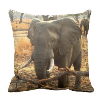 African Elephant image Throw pillow