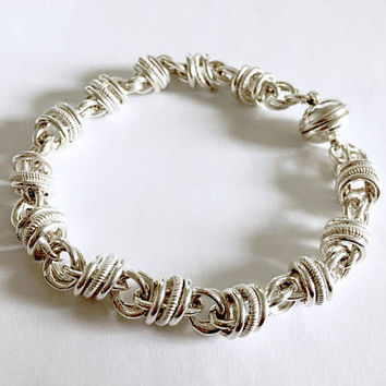 Vintage Milor Italy Sterling Silver Unique Chain Bracelet with Magnetic Clasp - 8 Inches - 25 grams