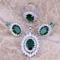 Emerald Zircon Fashion Jewelry Set - Costume Jewelry - Free Shipping