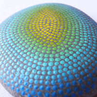 Beach Stone Paperweight - Dot Circles in Yellow, Green and Blue