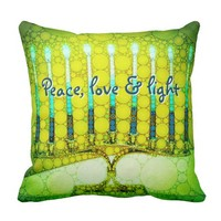 """Peace, Love & Light"" Green Hanukkah Menorah Photo Throw Pillow"
