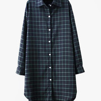 Navy & Green Long Boyfriend Fit Cotton Plaid Blouse