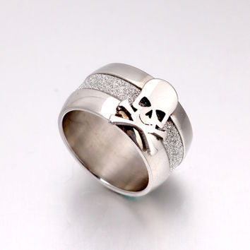 10mm Rhodium Plated Punk Pirate Skull Ring Vintage Dull Polish Rings 316L Stainless Steel Charms