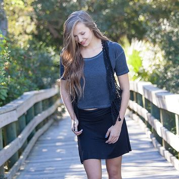 Skirt:  Small  Black  Short  Skirt  From  Natural  Life