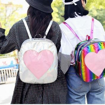 1 piece transparent heart shape PVC Silver Hologram Laser Backpack leather Holographic Backpack Multicolor schoolbag
