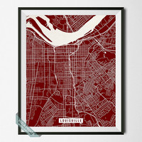 Louisville Print, Kentucky Poster, Louisville Poster, Kentucky Print, Street Map, Home Wall Art, Wall Decor, Back To School