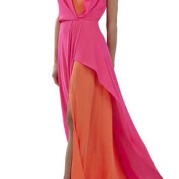 Yuliana V-Neck Evening Dress - Pink