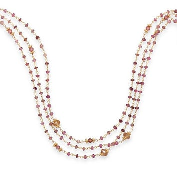 "14 Karat Gold Plated Triple Strand 16"" Necklace with Pink Tourmaline 925 Sterling Silver"