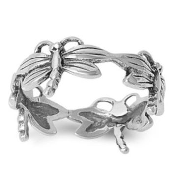925 Sterling Silver All In Together Dragonfly Ring
