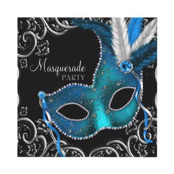 Teal Blue Silver Mask Teal Black Masquerade Party Invites from Zazzle.com