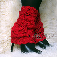 Red Leg warmers, boot cuffs, lace boot socks, Crochet Dance / Ballet Leg Warmers,fitness boot socks,Gift for her Women's Fashion Accessory