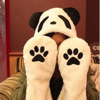 Thick warm plush cartoon panda hat (Color: White) = 1958018756