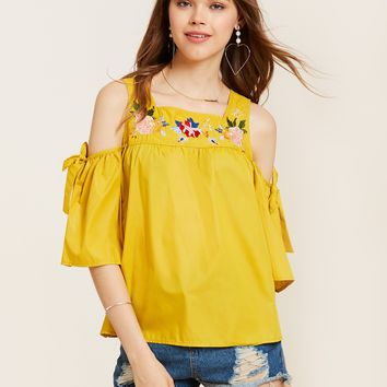 Young17 Square Neck Cold Shoulder Floral Embroidered Blouse