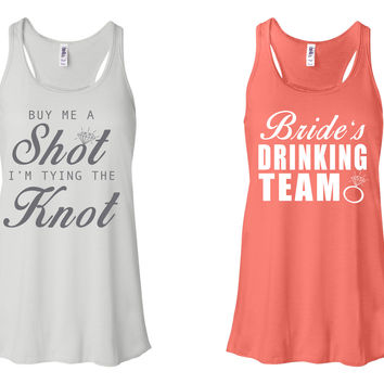 """""""Buy Me A Shot I'M Tying The Knot"""" & """"Bride's Drinking Team"""" Bachelorette-Party-Shirts White and Coral"""