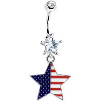 Red White and Blue USA Star Belly Ring | Body Candy Body Jewelry