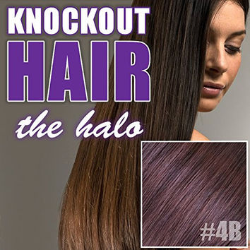 "Halo Hair Extensions 20"" Dark Red Brown (#4B) - Human No Clip In Flip In Couture by Knockout Hair"