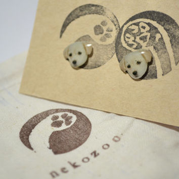 Golden retriever Dog cute Jewelry Earrings tiny jewelry, handmade items, Unique Gift with linen cotton bag