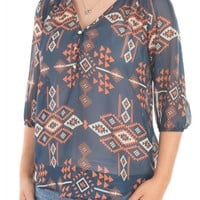 Living Doll LA Womens Lightweight Loose Chiffon Blouse Top Aztec Tribal Size S