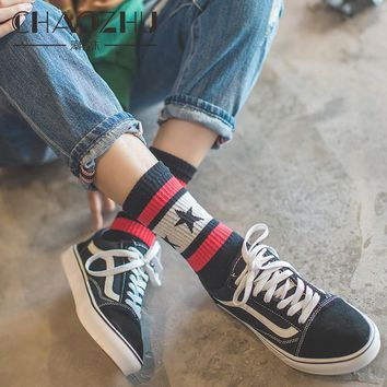 CHAOZHU New Arrival Combed Cotton Casual Star Socks 5 Colors Fashion Striped Harajuku Skateboard Women Socks
