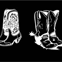 Western Boot decal Cowboy Boot Decal Cowgirl Boot Decal Car Decal Vehicle Window decal Country Line Dance Decal Cowgirl Cowboy Western