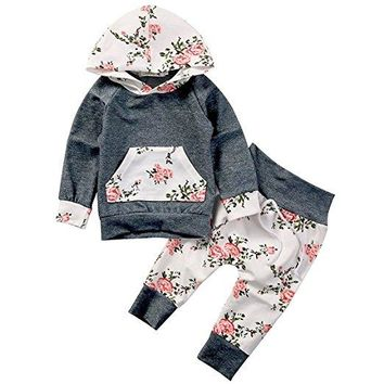 Baby Girls Boho Floral Hoodie Top & Pants Set