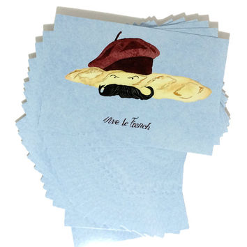 Pack of 20 French Humor Postcards,Foodie French Food Themed Cards,Twenty Mustache Beret Postcards,Funny Silly Humor Postcard in Watercolor