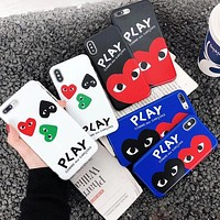 """Comme des garçon play"" Trending Women Men Personality Mobile Phone Cover Case For iphone 6 6s 6plus 6s-plus 7 7plus 8 8plus X XS Max XR"