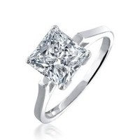 Bling Jewelry 925 Sterling Silver 1.59ct Princess Cut Solitaire CZ Bridal Engagement Ring