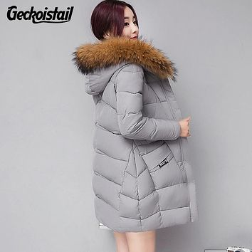 Geckoistail Winter Jacket Women Fashion New Winter Hooded Down Jacket Fur Lined Coat Plus Size M-4XL Warm Winter Parka Women