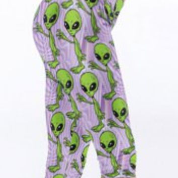 Elastic Waist Alien Print Bodycon Cropped Pants