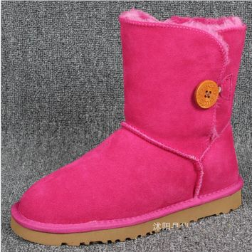 """UGG"" Women Fashion Wool Snow Boots Calfskin Shoes A Button shoes fresh Rose"