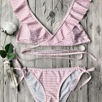 Striped Ruffles Strap Wrap String Bikini Set