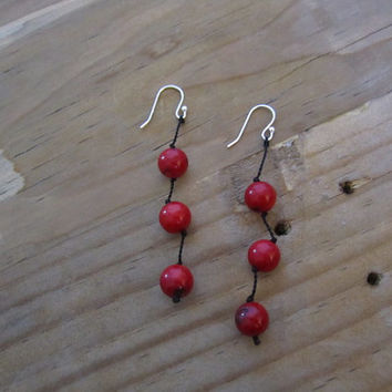 Dyed Red Coral beads earrings. Dangle earrings. set of 3 beads.