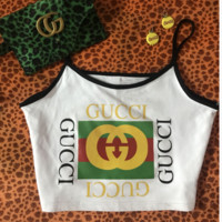 Gucci cute letter dragonfly top blouse shirt summer