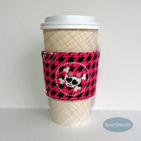 Pink Skullies Coffee Cup Cozy, Cold Drink Wrap, Coffee Cup Sleeve, Pirate Girl | SewAmazin