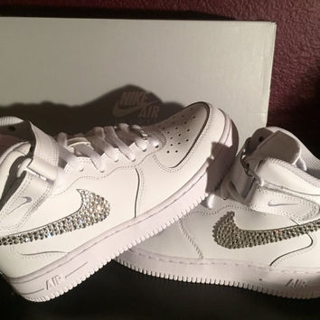 Swarovski Crystal Womens White Nike Air Force 1 Sneakers