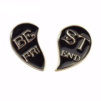 Best Friend Half Heart Pins